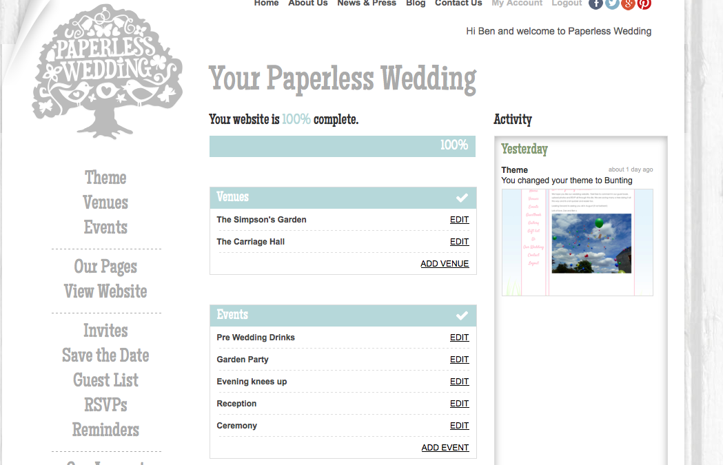 Paperless Wedding – Couples Homepage