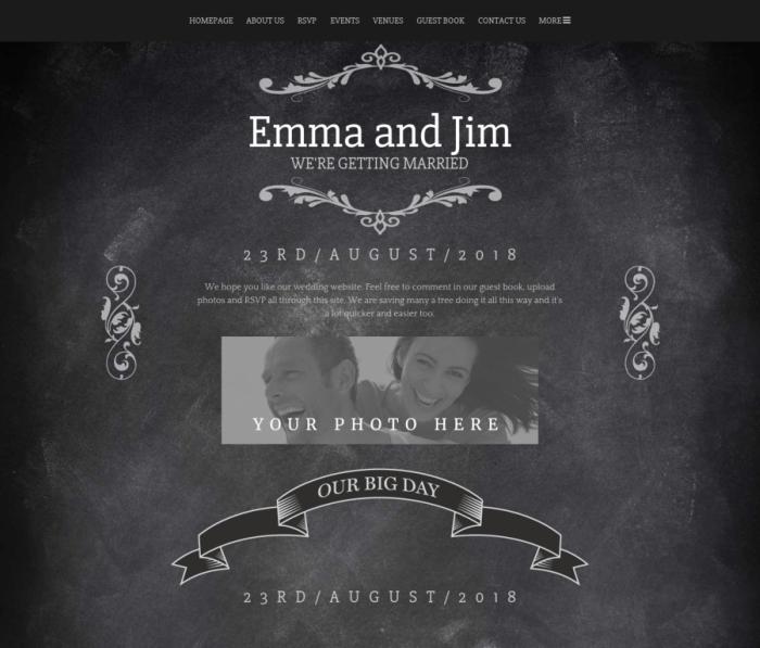 Wedding Website chalkboard